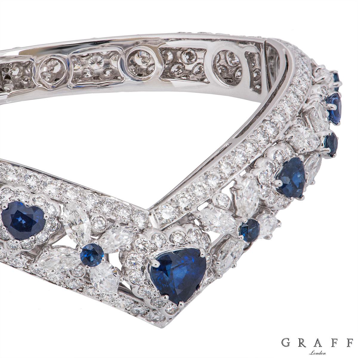 Graff White Gold Diamond, Emerald, Ruby & Sapphire Set Bangles